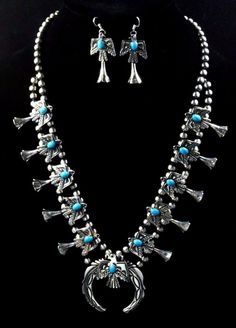 Native American Navajo Indian Jewelry SS Navajo Pearl Thunder Bird Turqu. Squash | eBay