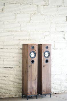 Walnut Speakers 2 Way Furniture Style Hi-Fi by KithandKinStore