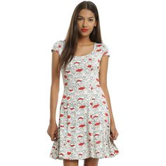 Disney Winnie The Pooh Allover Floral Dress Hot Topic ($39) ❤ liked on Polyvore featuring dresses, scoop-neck dresses, lace up dress, disney dresses, scoop neck dress and long white dress