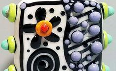 Pop Dot Graffiti Square-Handmade Lampwork Bead by BeadygirlBeads