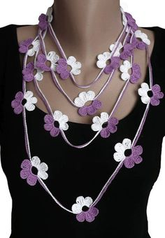 Hey, I found this really awesome Etsy listing at https://www.etsy.com/listing/73728580/purple-white-crochet-lariat-scarf
