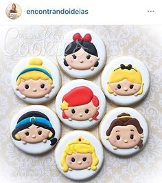 Disney Princesses in Tsum Tsum form. 👑🎀💖 Currently booked til October Disney Princess Cookies, Disney Cupcakes, Disney Cookies, Tsum Tsum Princess, Princess Cakes, Date Cookies, Fancy Cookies, Custom Cookies, Cookies Decorados