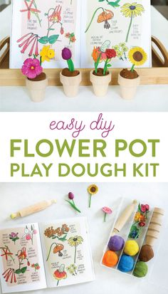 Want to add some pizzazz to your play dough creations? This easy DIY Flower Pot Play Dough Kit is perfect for kids of all ages and so easy to put together. This kit encourages open ended play and imagination as kids build and decorate with the supplies in the box. It would also make the perfect birthday gift for the budding artist in your life.