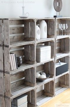 Weathered wood crate storage.