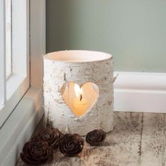 Silver birch jar with cut out heart! Perfect!!