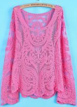Rose Red Long Sleeve Hollow Crochet Lace Blouse