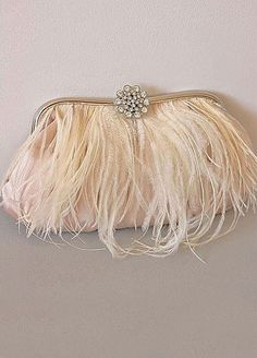 LEVINA  Crystal and Ostrich Trimmed Clutch by portobello on Etsy, $149.00