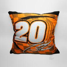 Nascar Tony Stewart No. 20 Pillow - NCC413 - Nascar Tony Stewart Orange and Black Joe Gibbs Home Depot No. 20 Pillow.  Made in USA FOR SALE
