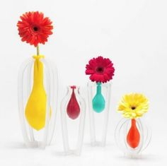 using balloons as vases.
