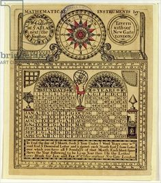 Trade card of W. Collier, maker of Mathematical Instruments, 1731