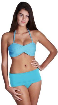 $108 Yokini Swimwear Perfect Fit Original Bottom & Twisted Bandeau Bikini Top - X-Large Bottom-L Top - BlueFrom Yokini Swimwear $108