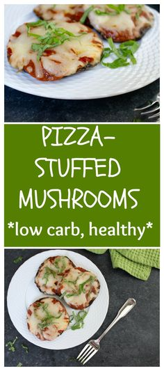"Lighten-up pizza night and make portobello mushrooms ""pizza crust"" with these quick and healthy Pizza Stuffed Mushrooms. to Mom Nutrition- Katie Serbinski, MS, RD Pizza Recipes, Veggie Recipes, Gourmet Recipes, Snack Recipes, Cooking Recipes, Hamburger Recipes, Barbecue Recipes, Drink Recipes, Appetizer Recipes"