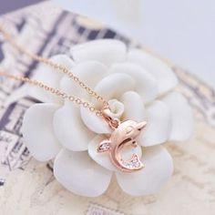 $5.13 Cute Diamante Dolphin Pendant Alloy Necklace For Women