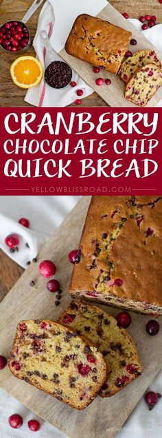 Cranberry Chocolate Chip Quick Bread - this with some Nutella for breakfast, yum! Fudge, Baking Recipes, Dessert Recipes, Drink Recipes, Bread Recipes, Bread Gifts, Cranberry Bread, Breakfast Cookies, Eat Breakfast