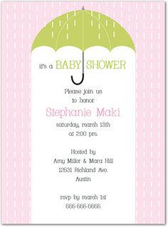 Baby Shower Invitations, Classic Umbrella Shower In Girl