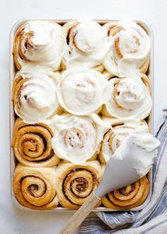 Overnight Cinnamon Rolls by Wood and Spoon. These are fluffy brown sugar and spice morning buns topped with a cream Overnight Cinnamon Rolls, Sourdough Cinnamon Rolls, Easy Cinnamon Rolls, Cake Recipes, Dessert Recipes, Casserole Recipes, Bagels, Breakfast Casserole, Sweet Bread