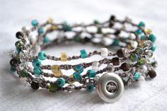 "Bohemian surfer crochet wrap bracelet ""turquoise, brown, cream and white"", shabby chic boho 5x wrap bracelet"