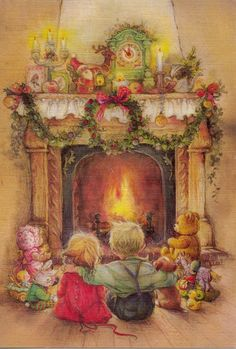 "Photo from album ""Lisi Martin Christmas Cards"" on Yandex. Old Fashioned Christmas, Christmas Scenes, Christmas Past, Christmas Pictures, Winter Christmas, Christmas Morning, Christmas Fireplace, Primitive Christmas, Country Christmas"