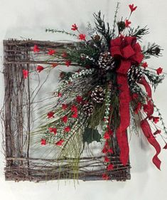 Crooked Tree Creations Christmas Floral Decor, Wreaths And Arrangements From Cute And Whimsical To Upscale And Sophisticated. Christmas Frames, Noel Christmas, Rustic Christmas, Winter Christmas, Christmas Ornaments, Christmas Swags, Father Christmas, Christmas Projects, Holiday Crafts