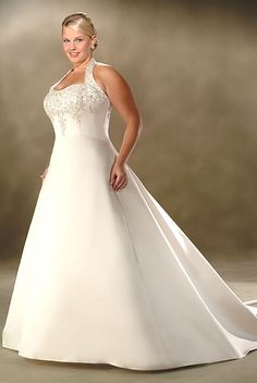 Halter Chapel Train Satin Plus Size Wedding Dresses