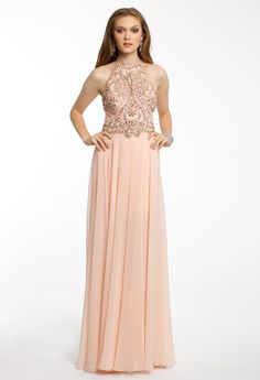 Chiffon Beaded Halter Dress #camillelavie #CLVprom