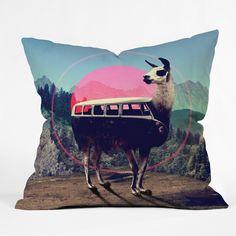 Ali Gulec Llama Van Throw Pillow | DENY Designs Home Accessories