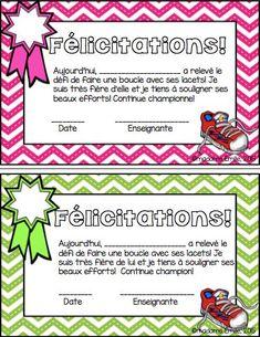 FREEBIE- GRATUIT Français: petits certificats pour les boucles de lacets…