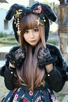 japanese street fashion... need this jacket or whatever it is!!! She looks like a bunny!