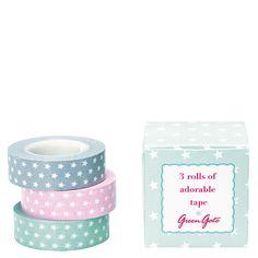 Fita Decor / Washi Tape : Caixa com 3 rolos de fita cola estrelinhas