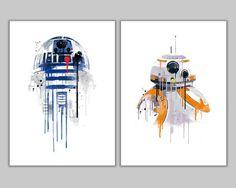Affiche Alternative « Star wars promo aquarelle de Robots Duo » Set 2 affiches inclus : -R2D2 -BB8 Tous nos modèles ont une bordure blanche autour de l'image (env. 1,2 cm) Châssis non inclus. * Choisir l'étendue de votre affiche dans la liste déroulante à droite ci-dessus. *