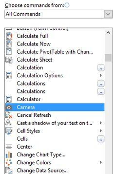 Excel Camera Tool - Select Camera