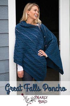 Great Falls Poncho Knitting pattern by Marly Bird
