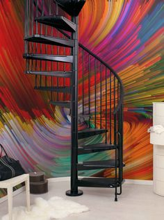 Colorful #wallmural - fun & inspiring! See all 10 DIY Ideas For A Staircase Makeover