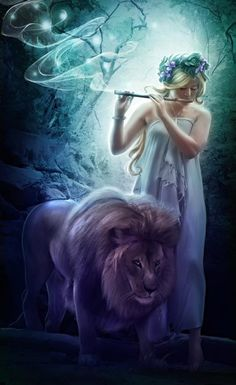 Beautiful woman and lion fantasy art