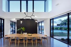 Which Is Emphasised By Way Of Large Operable Glazed Walls, Folding Back On Themselves. Australian Architecture, Australian Homes, Interior Architecture, Commercial Interior Design, Commercial Interiors, Glazed Walls, Interior Styling, Conversation, Kitchen Design