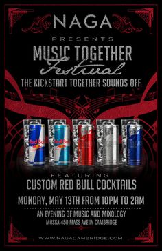 Naga is hosting The Kickstart Together Sounds Off Party featuring Custom Red Bull Cocktails!    We are featuring an evening of music and mixology!    Naga Night Club   450 Massachusetts Ave.   Cambridge, MA 02139   For more info contact jason@nagacambridge.com or 857 991 7164   Website: nagacambridge.com   Like us on Facebook: Naga   Follow us on Twitter: nagacambridge