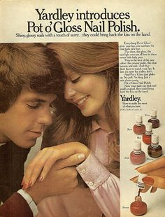 Mike admires my nail polish like this all the time.   Yardley Scented Nail Polish. 1972.