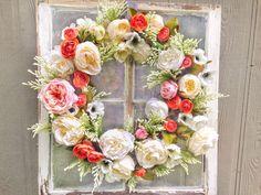 Anemone, Rose & White Peony Wreath, orange and pink wreath, farmhouse wreath, joanna gaines decor, magnolia homes wreath, wedding wreath by PeachesandPolish on Etsy https://www.etsy.com/listing/460290924/anemone-rose-white-peony-wreath-orange