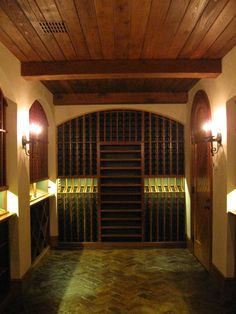 Custom Kessick Wine Cellar w/ antique brick floor and cypress ceiling and beams Brick Flooring, Flooring Ideas, Floors, Wine Cellars, Beams, Building A House, Arch, Castle, Traditional