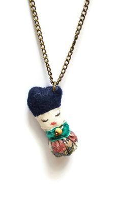 Steampunk blue flowery creature pendant - fabric pendant - tiny creature - cute necklace - quirky pendant - cute pendant -creature cha
