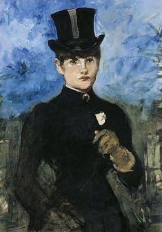 Édouard Manet Horsewoman, Fullface ca. 1882 Oil on canvas. 73 x 52 cm Museo Thyssen-Bornemisza, Madrid Post Impressionism, Impressionist Art, Renoir, List Of Paintings, Berthe Morisot, French Art, Art History, Modern Art, Art Gallery