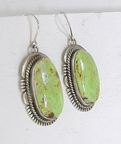 uthentic Native American sterling silver and Gaspeite wire earrings by Navajo artist John Nelson