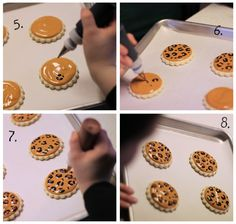 How to make leopard print on cookies.  I will be making these for Madie's birthday party (hopefully!)
