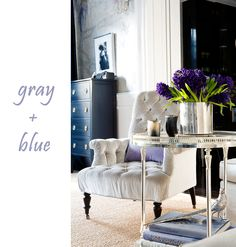Here's a lovely color combination for you;  silvery pearl gray with indigo and blue. We have seen a lot of neutrals combined with punches of warm color, so this combination of only cool colors is quite refreshing, don't you think? I can only describe this room as refined glamour. I'm sure many of you have seen it before, and already know it's designed by the one and only Windsor Smith.