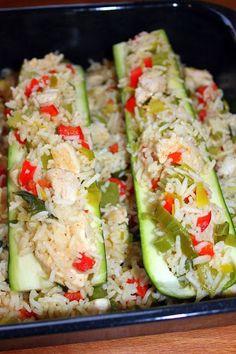 Mijn kookdagboek: Gevulde courgettes met rijst, groenten en kip