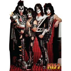 Life-size KISS Group Cardboard Cutout that stands 66 inches tall and 49 inches wide. Free standing cardboard cutout and comes with an easel back that easily folds up. Paul Stanley, Gene Simmons, Rock & Pop, Rock And Roll, Banda Kiss, Kiss Group, Best Kisses, Kiss Band, Hot Band