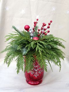 red and Green make this arrangement very festive Red And Green Make, Sprays, Festive, Texture, Table Decorations, Christmas, How To Make, Color, Home Decor