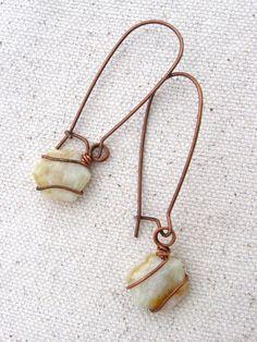 Copper Wire Wrapped Agate Earrings by StephanieStoks on Etsy, $12.00