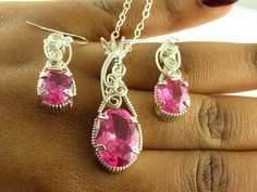 Lab Pink Sapphire  Necklace,  Pink Sapphire Jewelry, Gemstone Necklace, Wire Wrapped Jewelry, Handmade Jewelry, Wire Wrapped by inspiredcreationsco on Etsy