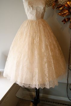50s Tea Length CUPCAKE Couture Wedding Dress Strapless Ivory LACE Designed by Marie